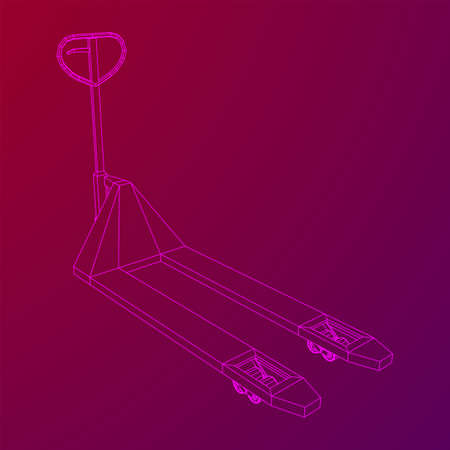 Hand pallet jack lift . Manual forklift. Logistics shipping concept. Wireframe low poly mesh vector illustration.