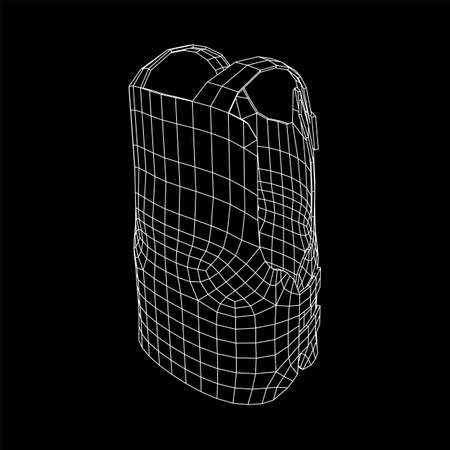 Police flak jacket or bulletproof vest. Bullet proof concept. Wireframe low poly mesh vector illustration. Çizim