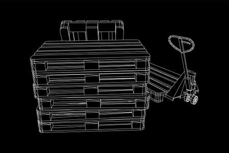 Hand pallet jack lift. Manual forklift with cargo pallet for warehouse. Logistics shipping concept. Wireframe low poly mesh vector illustration. Zdjęcie Seryjne - 149305763