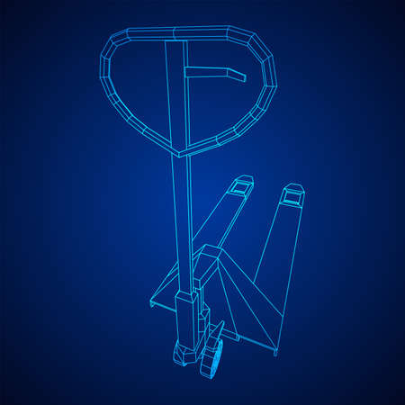 Hand pallet jack lift. Manual forklift. Logistics shipping concept. Wireframe low poly mesh vector illustration. Zdjęcie Seryjne - 149305776