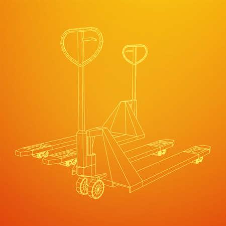 Hand pallet jack lift. Manual forklift. Logistics shipping concept. Wireframe low poly mesh vector illustration. Zdjęcie Seryjne - 149305778