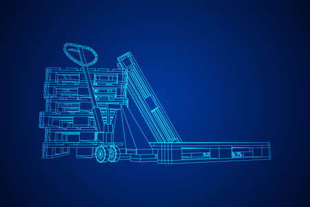 Hand pallet jack lift. Manual forklift with cargo pallet for warehouse. Logistics shipping concept. Wireframe low poly mesh vector illustration.