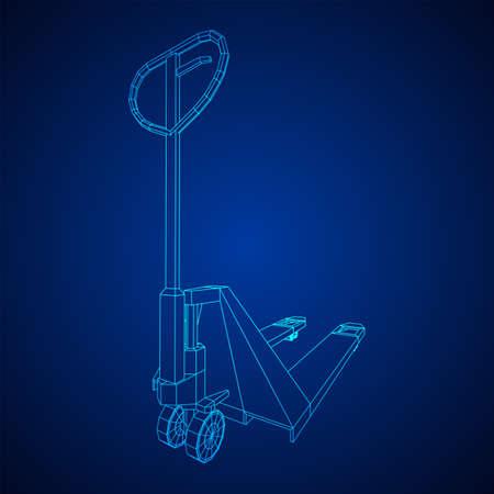 Hand pallet jack lift. Manual forklift. Logistics shipping concept. Wireframe low poly mesh vector illustration. Zdjęcie Seryjne - 149299374