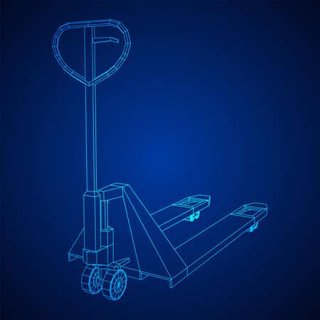 Hand pallet jack lift. Manual forklift. Logistics shipping concept. Wireframe low poly mesh vector illustration. Zdjęcie Seryjne - 149369174