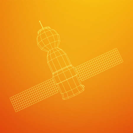 Space station communications satellite. Wireframe low poly mesh vector illustration. Reklamní fotografie - 149498244