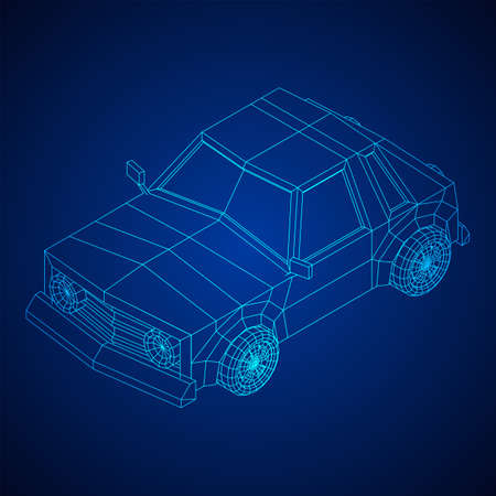 Car sedan vehicle personal transport. Automobile transportation concept. Wireframe low poly mesh vector illustration. 向量圖像
