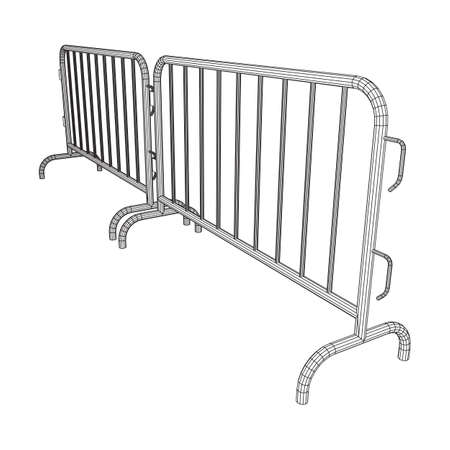 Police riot fence. Wireframe low poly mesh vector illustration. Illustration