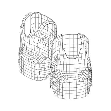 Police flak jacket or bulletproof vest. Bullet proof concept. Wireframe low poly mesh vector illustration. 矢量图像