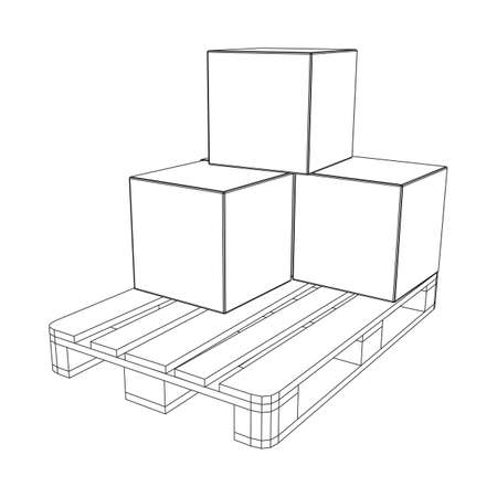 Cargo pallet for warehouse with stacked goods cardboard boxes. Logistics shipping concept. Wireframe low poly mesh vector illustration. Illustration