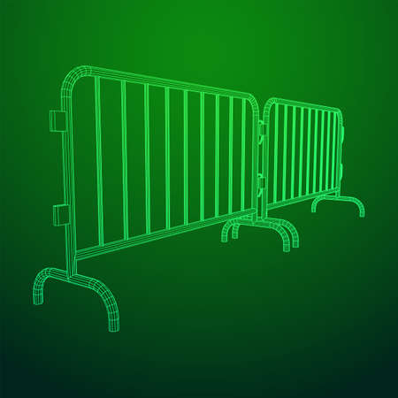 Police riot fence. Wireframe low poly mesh vector illustration. Stock Illustratie