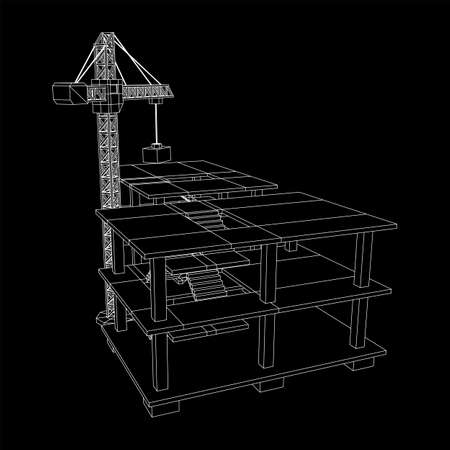 Building under construction with crane. Build house construct in process. Wireframe low poly mesh vector illustration