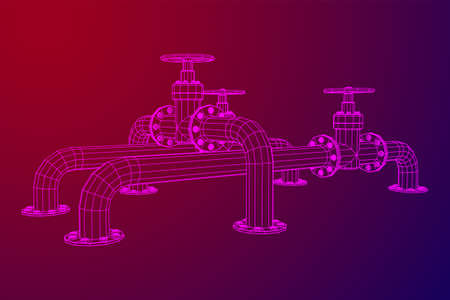 Oil pipeline with valve business concept. Finance economy polygonal petrol production. Petroleum fuel industry transportation line. Wireframe low poly mesh vector illustration.