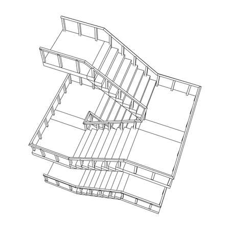 Wireframe stairs, interior staircases steps with railing. Wireframe low poly mesh vector illustration.