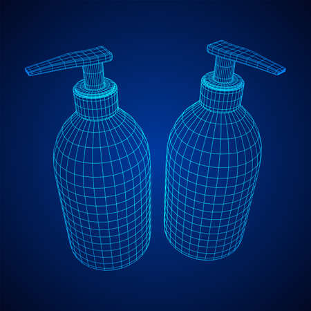 Hand sanitizer alcohol bottle for hygiene. Disinfection concept. Wireframe low poly mesh vector illustration.