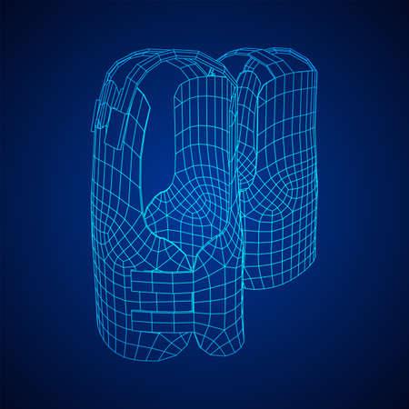 Police flak jacket or bulletproof vest. Bullet proof concept. Wireframe low poly mesh vector illustration. Иллюстрация