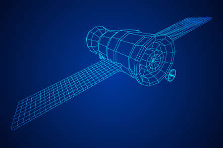 Space station communications satellite. Wireframe low poly mesh vector illustration. Reklamní fotografie - 150193779