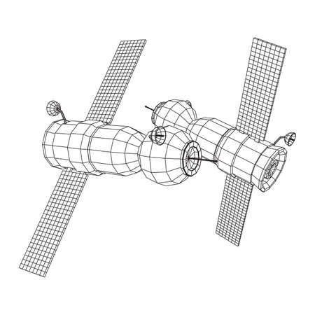 Space station communications satellite. Wireframe low poly mesh vector illustration.