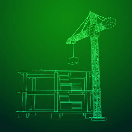 Building under construction with crane. Build house construct in process. Wireframe low poly mesh vector illustration Vectores
