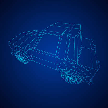 Car sedan vehicle personal transport. Automobile transportation concept. Wireframe low poly mesh vector illustration. Vectores