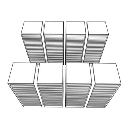 Data center storage room object. Hardware equipment telecommunication server. Computer database tower. Internet industry cluster. Wireframe low poly mesh 3d render illustration Imagens - 150295633