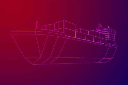 Heavy dry cargo ship of bulk carrier with freight containers. Wireframe low poly mesh vector illustration.