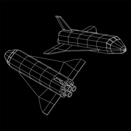 Space ship shuttle. Wireframe low poly mesh vector illustration. Vector Illustration