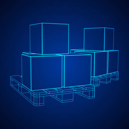 Cargo pallet for warehouse with stacked goods cardboard boxes. Logistics shipping concept. Wireframe low poly mesh vector illustration. 일러스트