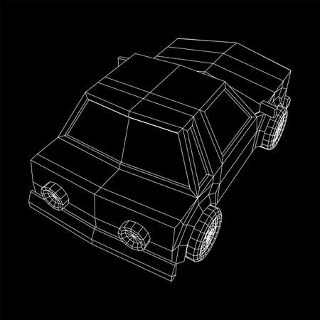 Car sedan vehicle personal transport. Automobile transportation concept. Wireframe low poly mesh vector illustration.  イラスト・ベクター素材