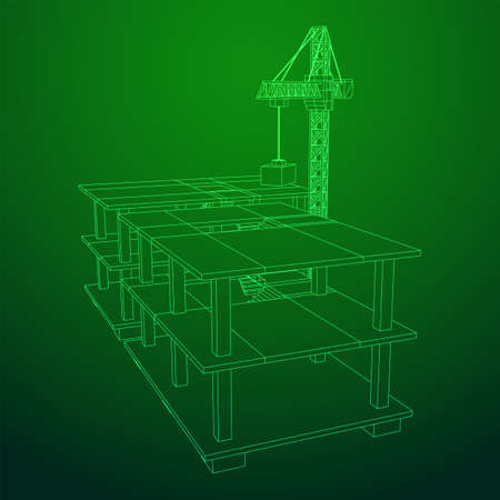 Building under construction with crane. Build house construct in process. Wireframe low poly mesh vector illustration Ilustração