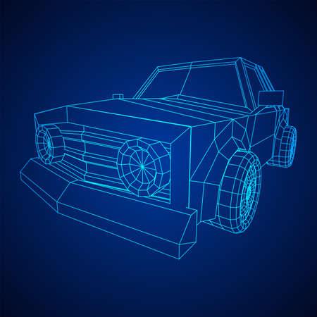 Car sedan vehicle personal transport. Automobile transportation concept. Wireframe low poly mesh vector illustration. Ilustração