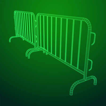 Police riot fence. Wireframe low poly mesh vector illustration.  イラスト・ベクター素材