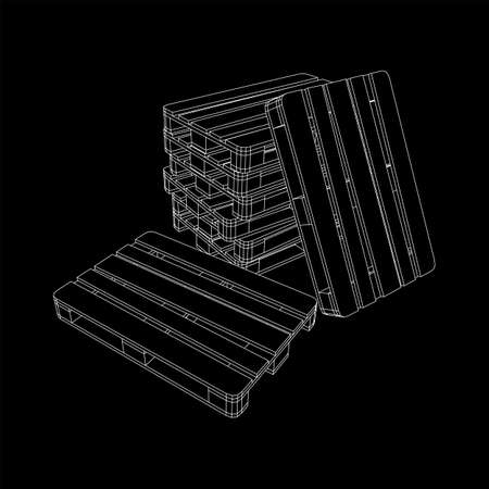 Cargo pallet for warehouse. Logistics shipping concept. Wireframe low poly mesh vector illustration. Imagens - 150720054