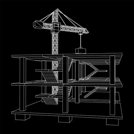 Building under construction with crane. Build house construct in process. Wireframe low poly mesh vector illustration Illustration