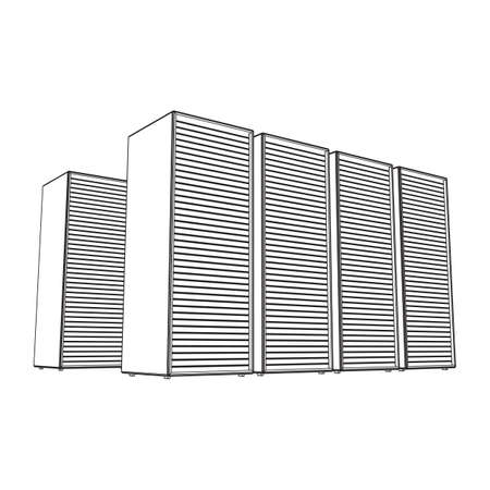 Data center storage room object. Hardware equipment telecommunication server. Computer database tower. Internet industry cluster. Wireframe low poly mesh 3d render illustration