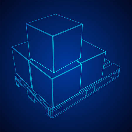 Cargo pallet for warehouse with stacked goods cardboard boxes. Logistics shipping concept. Wireframe low poly mesh vector illustration. Ilustração