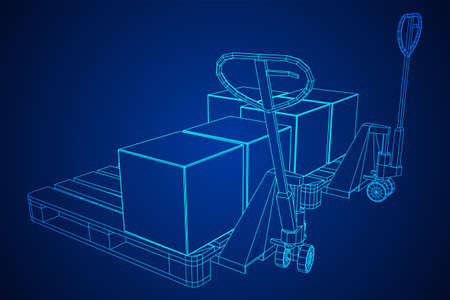 Hand pallet jack lift with pallet and stacked goods cardboard boxes. Manual forklift. Logistics shipping concept. Wireframe low poly mesh vector illustration.