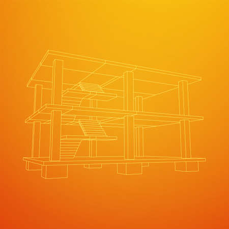 Building under construction. Build house construct in process. Wireframe low poly mesh vector illustration