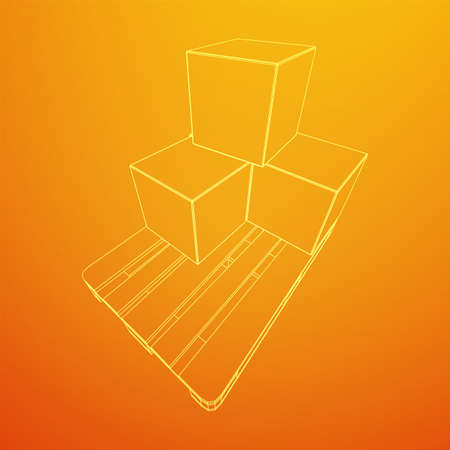Cargo pallet for warehouse with stacked goods cardboard boxes. Logistics shipping concept. Wireframe low poly mesh vector illustration. Vettoriali