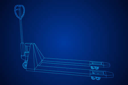 Hand pallet jack lift. Manual forklift. Logistics shipping concept. Wireframe low poly mesh vector illustration.