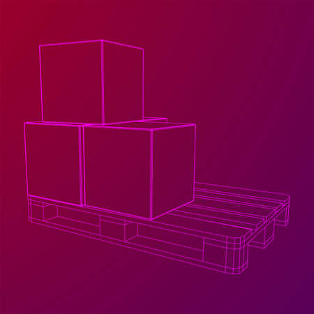 Cargo pallet for warehouse with stacked goods cardboard boxes. Logistics shipping concept. Wireframe low poly mesh vector illustration. Illusztráció