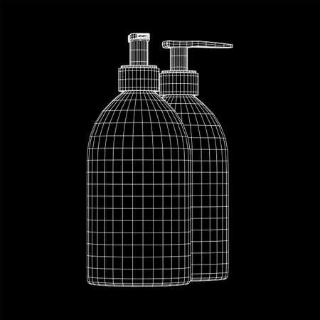 Hand sanitizer alcohol bottle for hygiene. Disinfection concept. Wireframe low poly mesh vector illustration. Vecteurs
