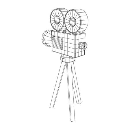 Polygonal camera projector. Movie time. Show film cinema festival concept. Wireframe low poly mesh vector illustration. Ilustracja