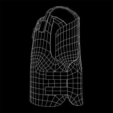 Police flak jacket or bulletproof vest. Bullet proof concept. Wireframe low poly mesh vector illustration.