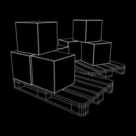 Cargo pallet for warehouse with stacked goods cardboard boxes. Logistics shipping concept. Wireframe low poly mesh vector illustration. Иллюстрация