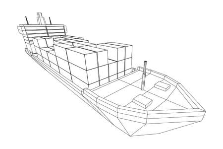 Heavy dry cargo ship of bulk carrier with freight containers. Wireframe low poly mesh vector illustration. 版權商用圖片 - 153079577