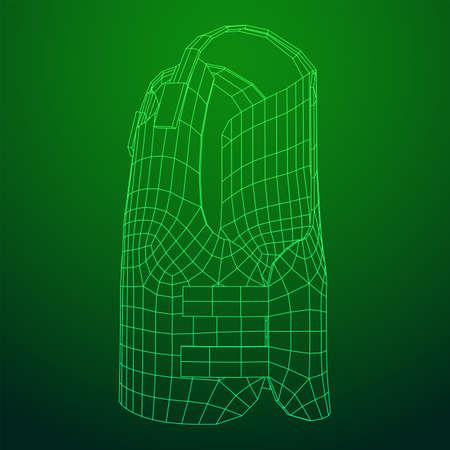 Police flak jacket or bulletproof vest. Bullet proof concept. Wireframe low poly mesh vector illustration. Illustration