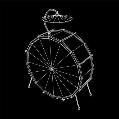 Musical instruments set. Rock band drum kit. Percussion musical instrument drums and cymbal. Wireframe low poly mesh vector illustration.