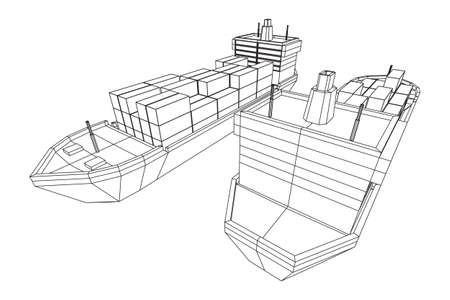 Heavy dry cargo ship of bulk carrier with freight containers. Wireframe low poly mesh vector illustration. Vektorgrafik