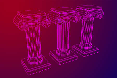 Greek ionic column. Ancient pillars roman antique architecture construction decoration. Wireframe low poly mesh vector illustration.
