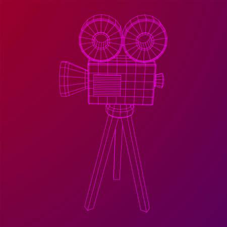 Polygonal camera projector. Movie time. Show film cinema festival concept.